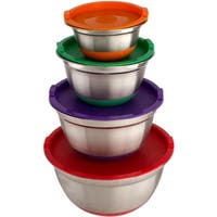 4 Pcs Stainless Steel German Mixing Bowls Set with Multicolor Lids & Non-Skid Silicone Base