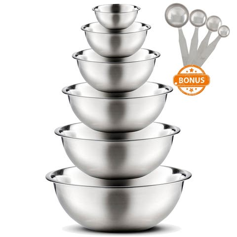 High Quality Large Stainless Steel 6 pcs. Mixing Bowl Set with Free Measuring Spoons