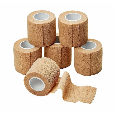 MEDca Self Adherent Cohesive Tape Wrap Bandages First Aid Wound Care Premium Quality FDA Approved 2 Inches X 5 Yards - 2 Pack