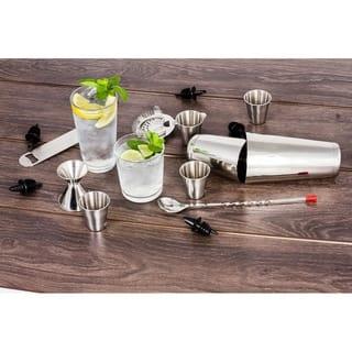 Stainless Steel 16 Pcs. Cocktail Shaker Set - Complete Barman Bartender Bar Tool Set