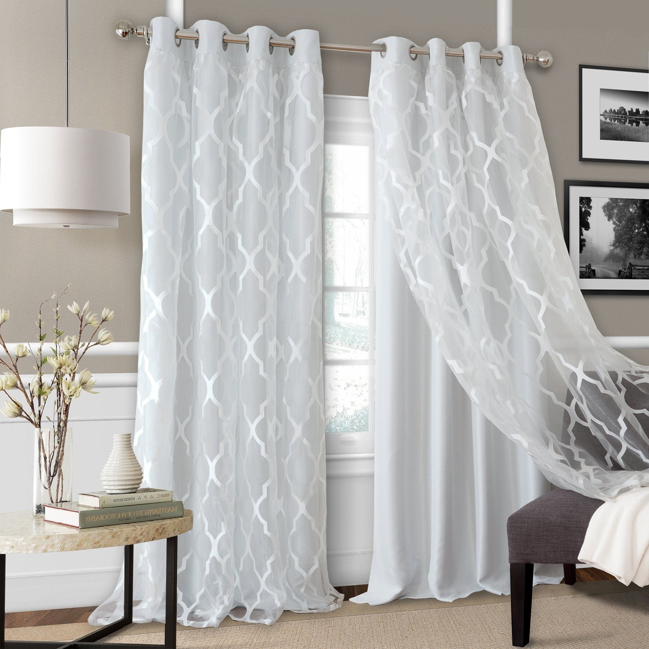 Bethany Sheer Overlay Blackout Window Curtain Overstock 21424719
