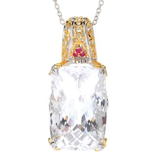 Michael Valitutti Palladium Silver White Quartz & Ruby Cento Facet Pendant