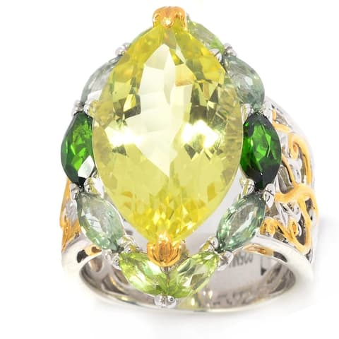 Gems en Vogue Palladium Silver Lemon Quartz and Multi Gemstone Ring - Green