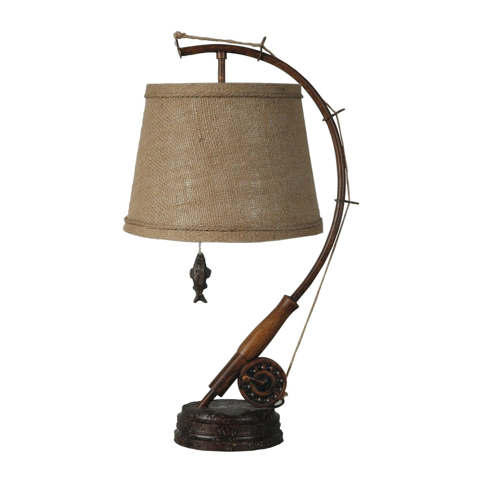 Table Lamp Fishing Rod Reel Shade Set 2 Home Decor Cabin ...