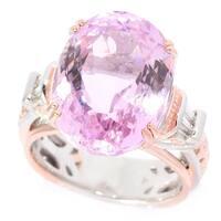 Michael Valitutti Palladium Silver Kunzite and Diamond Ring - Pink
