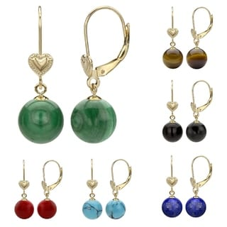 DaVonna 14k Yellow Gold 8-8.5mm Round Birthstone Gemstone Heart Design Lever-back Earrings