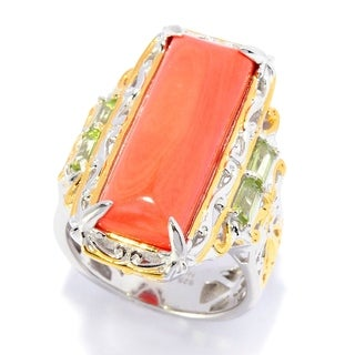 Michael Valitutti Palladium Silver Salmon Coral and Peridot Ring - Orange