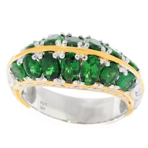 Michael Valitutti Palladium Silver Tsavorite Two Row Ring - Green