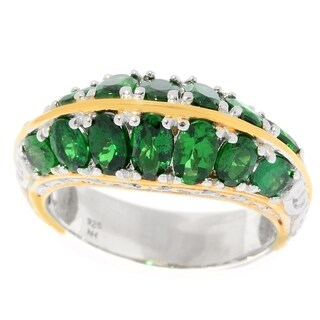 Michael Valitutti Palladium Silver Tsavorite Two Row Ring - Green (4 options available)