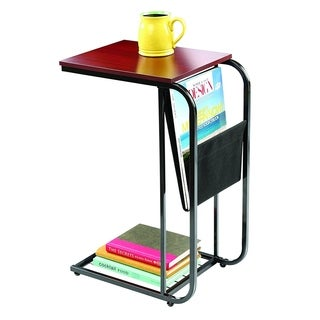 Sliding Snack Laptop Writing Metal Sofa Side Table With sling Fabric Magazine Holder