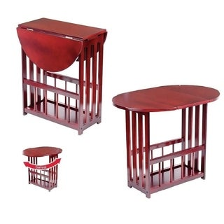 Cherry Finished Wood Drop Leaf Table - Wooden End Table Magazine Rack Table