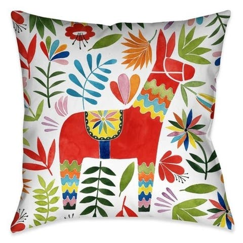 Laural Home Fiesta Animal and Flowers I Outdoor Decorative Pillow