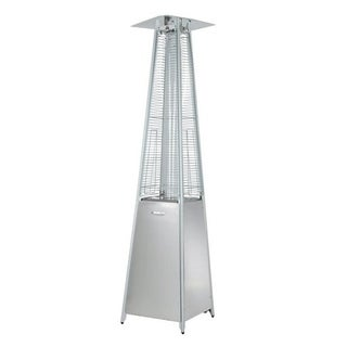 Zen-Temp Outdoor Patio Heater, 4-Sided Glass Tube, Stainless Steel