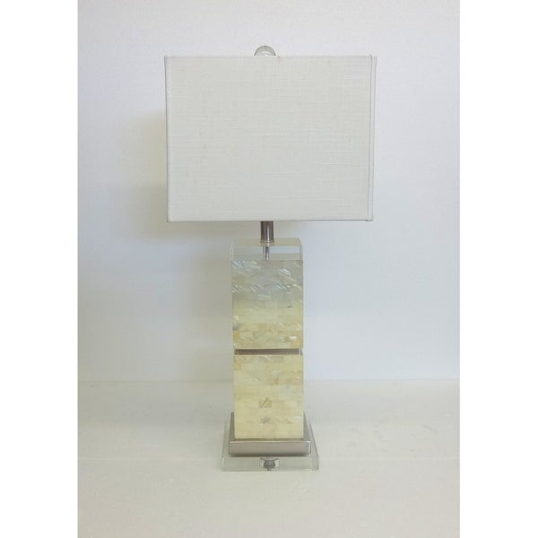Square Mother of Pearl Table Lamp with Crystal Accents