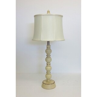 Cream Distressed Wood Table Lamp