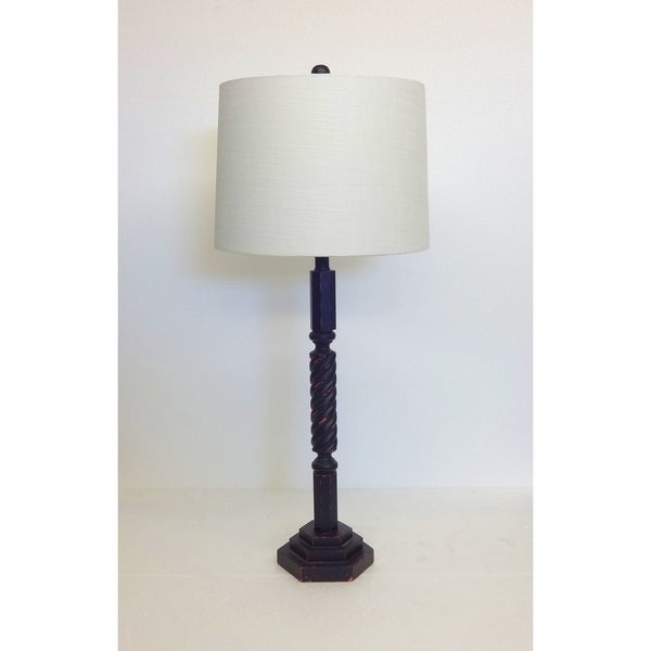 Distressed Black Spindle Wood Table Lamp