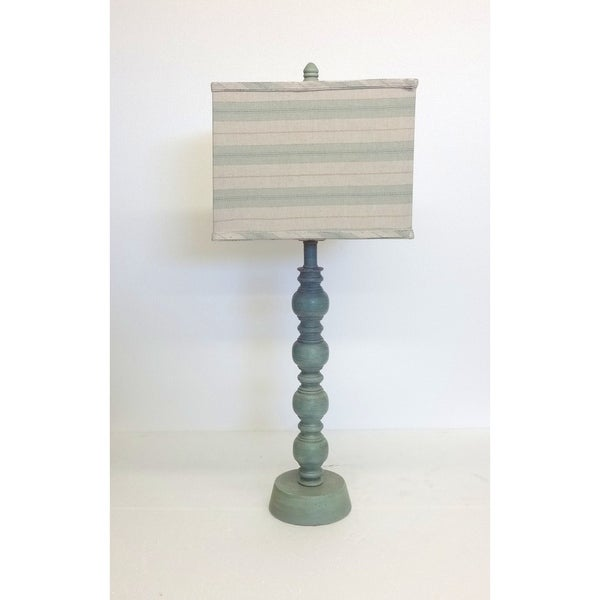 Rustic Seafoam Wooden Table Lamp with Stripe Shade