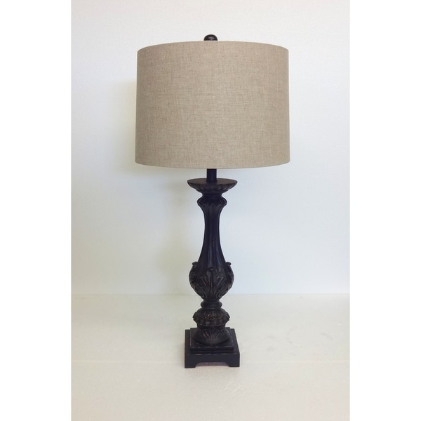 Black Distressed Carved Wood Table Lamp