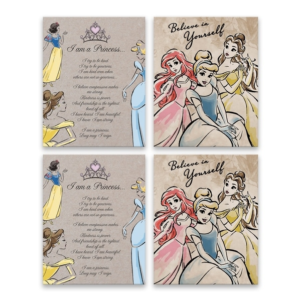 """Disney Princesses Fashionistas I Am A Princess & Believe in Yourself"" Embellished Canvas - Set of 4, 16W x 20H x 1.25D each"