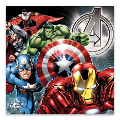 """Marvel Avengers Group Shot"" Framed Embellished Canvas - 40W x 40H x 2.25D"