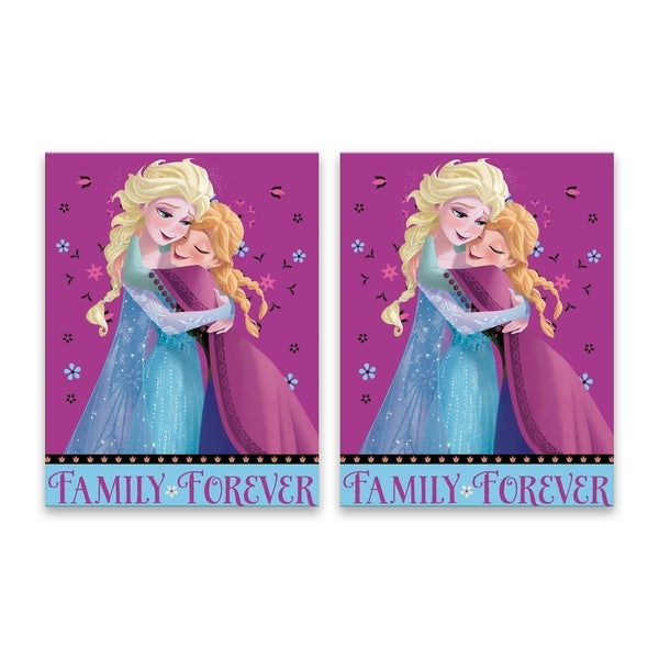 """""""Disney Frozen Anna and Elsa Family Forever"""" Printed Canvas - Set of 2, 14W x 18H x 1.25D each - Multi-color"""