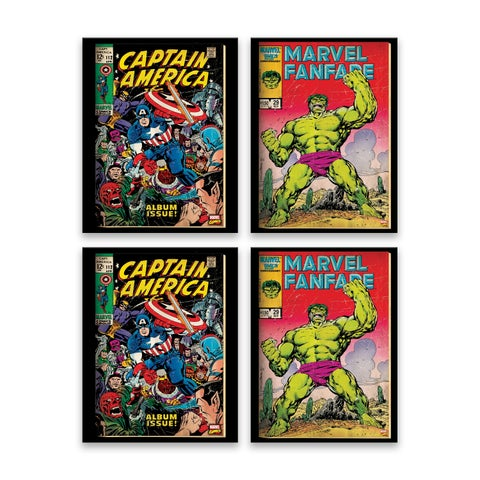 """Hulk and Captain America Comic Covers"" Printed Canvas - Set of 4, 6.5W x 8.5H x .5D each"