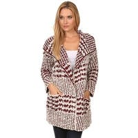 High Secret Women's Fuzzy Popcorn Knit Open Front Cardigan