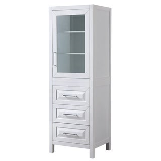 Daria Linen Tower in White with Cabinet Storage and 3 Drawers