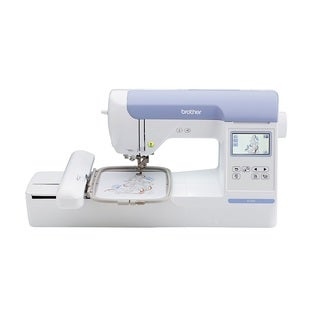 Brother PE800 5x7 Embroidery-only machine with color touch LCD display, USB port, 11 lettering fonts, and 138 built-in designs