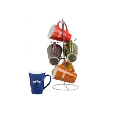 Ceramic Color Mug set With Metal Tree Stand Rack - Embossed Coffee Bean Design
