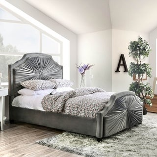 Furniture of America Rome Contemporary Grey Flannelette Panel Bed