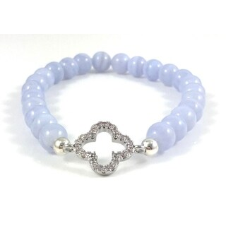 Hand Made Rebecca Cherry Women's Silver Plated CZ Clover Link Blue Lace Agate Beaded Bracelet