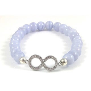 Hand Made Rebecca Cherry Women's Silver Plated CZ Infinity Link Blue Lace Agate Beaded Bracelet