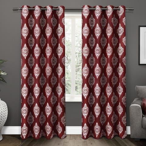 Gracewood Hollow Corine Medallion Pattern Blackout Curtain Panel Pair