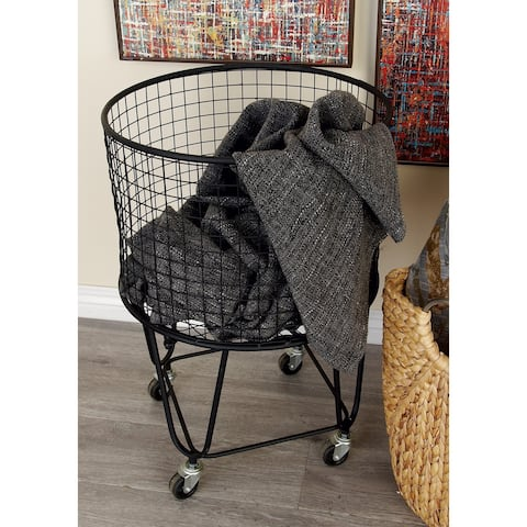 "Large Round Black Metal Hamper Basket with Wheels 17"" x 25"""