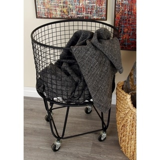 "Large Round Black Metal Hamper Basket with Wheels 17"" x 25"""