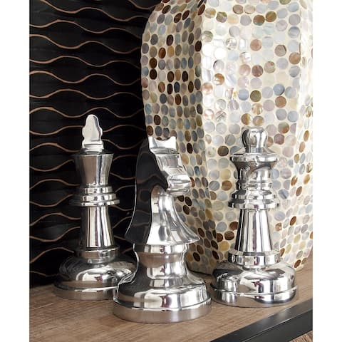 "Metallic Silver Decorative Chess Piece Sculptures Set of 3 - 4"" x 9"""