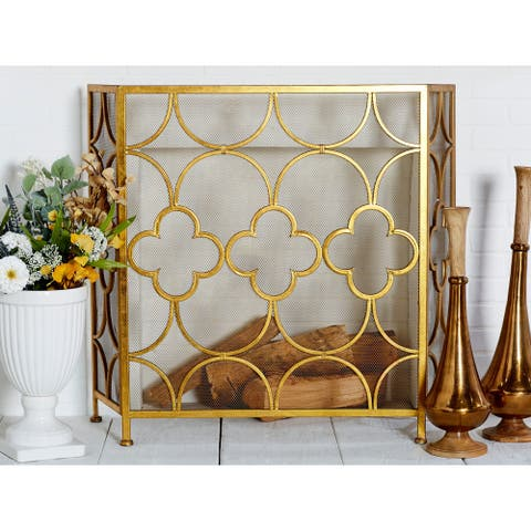 """The Curated Nomad Bimini Goldtone Metal Fire Screen - 50""""W, 35""""H"""