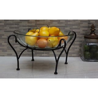 Link to Copper Grove Seymour Glass Bowl on Metal Stand Similar Items in Decorative Accessories