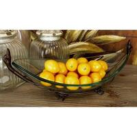 Oliver & James Buri Clear Glass and Iron Bowl and Stand