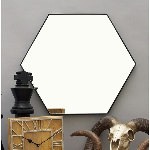 """Contemporary Style Hexagon Wall Mirror with Black Frame 24"""" x 21"""""""