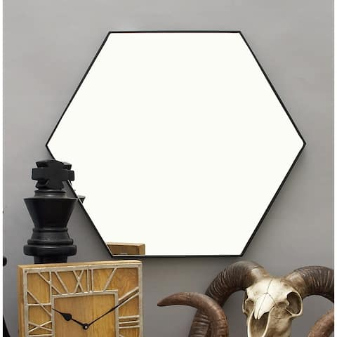 "Contemporary Style Hexagon Wall Mirror with Black Frame 24"" x 21"""