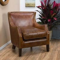 Gracewood Hollow MacLean Vintage Brown Leather Club Chair