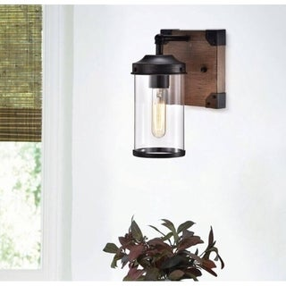Anastasia Antique Black Wall Sconce with Clear Glass Globe