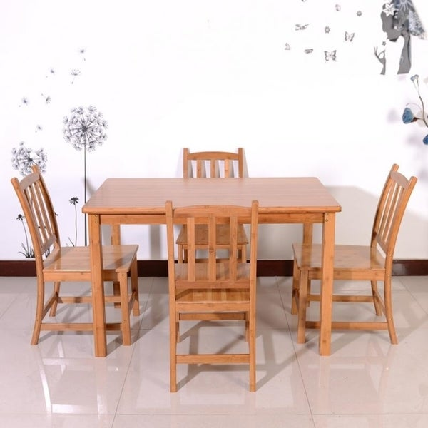 1 2m Concise Bamboo Dining Table With 4pcs Chairs Set Wood Color