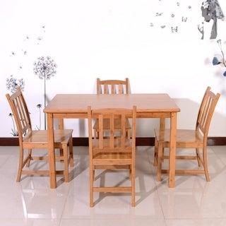 1.2m Concise Bamboo Dining Table with 4pcs Chairs Set Wood Color