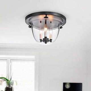 Yamila Antique Black 3-Light Clear Glass Flush Mount Chandelier