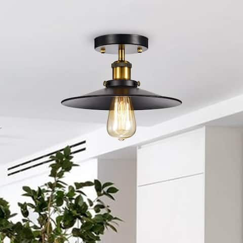 Anastasia Cone Shape Black and Metallic Gold Industrial Flush Mount - N/A