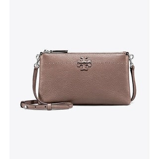Tory Burch McGraw Pebbled Leather Silver Maple Crossbody Bag - S