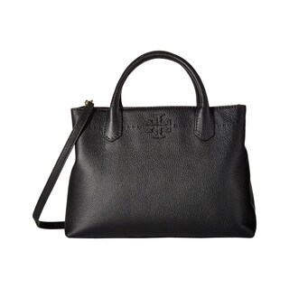 Tory Burch McGraw Triple Compartment Leather Black Satchel